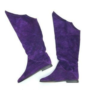 Via Spiga Tall Suede Purple Over the Knee OTK Flat